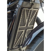 Billet Radiator Guard Kit for Liquid Cooled Triumphs - Union Jack - Black